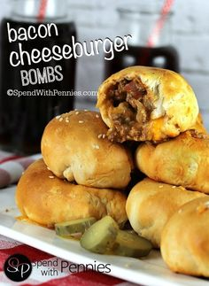 Bacon Cheeseburger Bombs - Spend With Pennies Bacon Cheeseburger Bombs! A delicious crispy crust filled with an amazing cheeseburger filling and loaded up with gooey cheese! Bacon Cheeseburger Bombs, Bacon Bombs, Cheese Bombs, Biscuit Dough Recipes, Recipes With Biscuits, Pilsbury Biscuit Recipes, Canned Biscuits, Pillsbury Recipes, Mini Hamburger