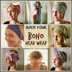 How to tie a boho bohemian head wrap band turban style - New Site How To Wear Headbands, Headbands For Short Hair, Hats For Short Hair, Headband Wrap, Boho Headband, Bandana Hairstyles, Pixie Hairstyles, Hairstyle Hacks, Hairdos