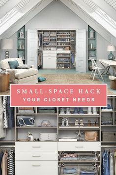 No place is too small for a custom storage solution! This contemporary reach-in closet provides ample storage for clothing, shoes, and seasonal items while the light aesthetic adds to the airy feeling of the space.