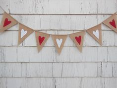 Ready to Ship, Heart Banner, Valentines Day Decor, Valentines Banner, Heart Garland, Heart Bunting, Valentines Garland, Burlap Valentines by IchabodsImagination on Etsy https://www.etsy.com/listing/216393675/ready-to-ship-heart-banner-valentines