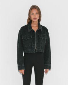 T by Alexander Wang Blaze Crop Oversized Jacket in Black Fade   The Dreslyn