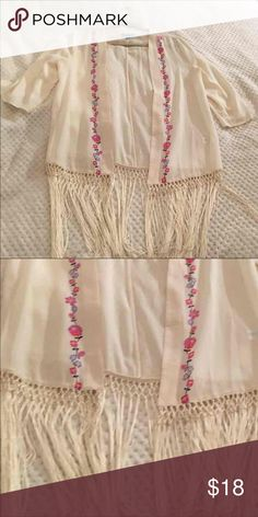 Kimono/wrap top Darling with embroidery and fringe. Absolutely perfect for spring. Goes good with jeans or shorts. Tops Blouses
