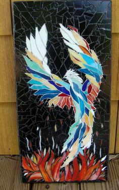 Phoenix Stained Glass Mosaic Art Original Ooak by zzbob on Etsy