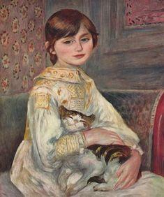 Pierre-Auguste Renoir: Porträt der Mademoiselle Julie Manet mit Katze 1887, Öl auf Leinwand, 64,5 × 53,5 cm Paris, Sammlung E. Rouart. Land: Frankreich. Stil: Impressionismus