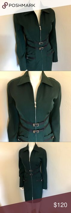 Thierry Mugler Teal Blue Green Wool Dress 42 US 10 Label-Mugler Thierry Mugler Couture  Dress-Long Sleeve Shirt Dress seaming at waist leather trim, for signature hourglass Mugler Silhouette. Silver metal hardware buckled and two front latch pockets over a pincer skirt. At Knee length. Perfect for work. A power suit dress. Size-42 French. US 10 Shown Sz 2 mannequin pinned for shape (back does not have fold) Measurements- B-40, W-30 H-40 Underarm to hem-29 Color-Teal Fabric-Wool Suiting…