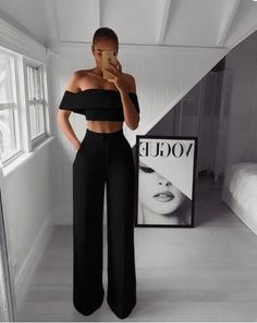 Outfits dressy Off Shoulder Crop and Wide Leg Pants Set Off Shoulder Crop und Weite Hosen Set - iawear Suit Fashion, Fashion Pants, Look Fashion, Fashion Outfits, Fashion Goth, Fashion Skirts, Cheap Fashion, Winter Fashion, Classy Outfits
