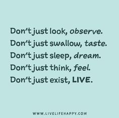 Don't just look, observe. Don't just swallow, taste. Don't just sleep, dream. Don't just think, feel. Don't just exist, live.