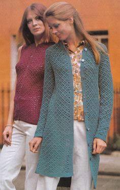 Vintage Crochet Pattern Ladies Instructions to Make a Ladies Coat & Top