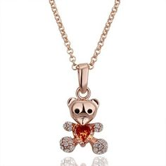Rose Gold Plated Bear Swarovski Elements Necklace