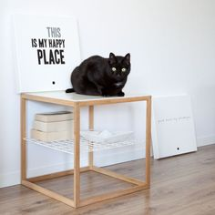 canvas typography | interior with black cat - this is my happy place - Mint Mouse - www.mintmouse.com