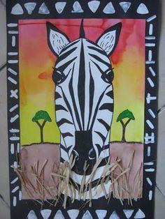 Zebra safari Africa 4th grade elementary art lesson animals collage printmaking drawing painting multi-media