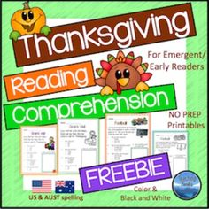 Thanksgiving+Reading+Comprehension+Freebie+has+two+simple+Thanksgiving+themed+reading+passages,+suitable+for+beginning+readers.+This+freebie+is+part+of+my+Thanksgiving+Reading+Comprehension+Pack,+a+set+of+20+reading+passages+for+emergent+and+early+readers,+available+here:+++Thanksgiving+Reading+ComprehensionYou+may+also+like:+Thanksgiving+for+Kinder+KidsThanksgiving+Color+and+WriteWinter+Reading+Comprehension+Read+Pick+Flip+CardsSight+Words+-+Search+the+Winter+Kids+and+CrittersWinter+Thinkin...