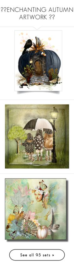 """🌾🍁ENCHANTING AUTUMN ARTWORK 🍁🌾"" by julidrops ❤ liked on Polyvore featuring art, abstract, EtsyShops, purple, expression, romance, pumpkin, Sachin + Babi, Hanes and Vivienne Westwood"