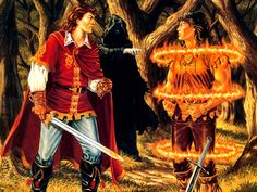 Knight Holding another Knight in Magic Fire Rings -  Wraith - Ghost - Traveller | Larry Elmore