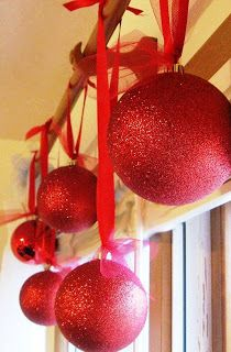 DIY ornaments…Styrofoam covered in glitter.  Much less expensive than the big ornaments at the store.