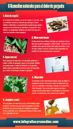5 remedios naturales para el dolor de garganta. #infografía #remedios #garganta