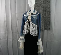 Image result for denim jacket with lace