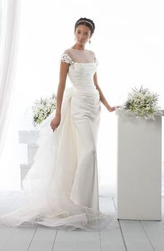 Bridal Gowns: Le Spose di Gio Sheath Wedding Dress with Illusion Neckline and No Waist/Princess Seams Waistline