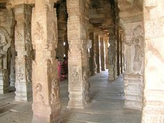 The sculpted pillars at the Veerabhadra Temple, near Lepakshi, excellent design and sculpture.