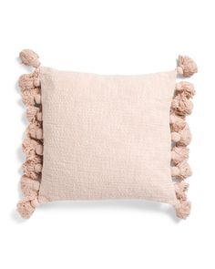 20x20 Textured Tassel Pillow - Throw Pillows - T.J.Maxx Boho Throw Pillows, Bed Pillows, Cushions, Farm Dining Table, Leather Cleaning, Perfect Pink, Pink Accents, Marshalls, Upholstered Furniture