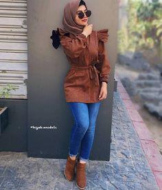 Casual brownish outfits with hijab Hijab Fashion Summer, Modest Fashion Hijab, Muslim Fashion, Modest Outfits, Trendy Outfits, Fashion Outfits, New Hijab Style, Hijab Style Dress, Casual Hijab Outfit
