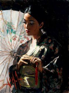 Michiko With White Umbrella by Fabian Perez, Art Print