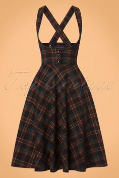 Collectif Clothing Natalia Warm Check Swing Skirt in Black 22114 20170606 Pretty Outfits, Pretty Dresses, Cool Outfits, Vintage Dresses, Vintage Outfits, Vintage Fashion, I Dress, Dress Outfits, Skirt Fashion