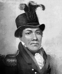 """Pushmataha, the """"Indian General"""" c. 1760s–1824. Considered the """"greatest of all Choctaw chiefs"""". He was highly regarded for his skill and cunning in war and diplomacy. Rejecting offers of alliance proffered by Tecumseh, Pushmataha led the Choctaw to fight on the side of the USA in the War of 1812. In 1824, he traveled to Washington to petition against further cessions of Choctaw land. He died at the capital, buried with full military honors in the Congressional Cemetery."""