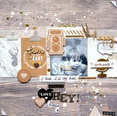 ** love the paint splatters and natural look Amélie Mordret for Hip Kit Club :: #scrapbooking #layout
