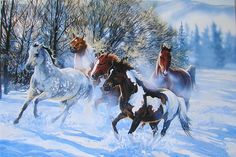 Leanin' Tree Janene Grende Galloping Horses Snow Christmas Holiday Greeting Card