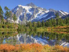 Reflected in Picture Lake, Mt. Shuksan, Heather Meadows Recreation Area, Washington, USA, Jamie & Judy Wilde