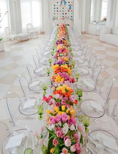 The Glam Pad: Palm Beach Entertaining, Mario Buatta, and a Pagoda Pool House Fun color spring long wedding reception table