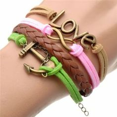Daditong Fashion Lady Retro Knit Bronze Love 8 Shape Anchor 4 Strands Suede Rope Bracelet Light Brown & Pink & Brown & Green Christmas Gift  Price: 	$1.31