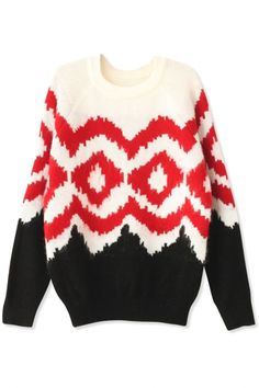 Chic Sawtooth Print Knit Sweater