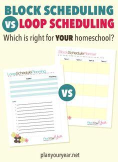 Block Scheduling Versus Loop Scheduling: Which One is Right For YOUR Homeschool? School Plan, Home School Schedule, Prep School, Tot School, School Tips, School Ideas, Block Scheduling, Lesson Plan Templates, Homeschool Curriculum