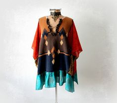 Plus Size Shirt Hippie Smock Top Earthy Color Boho Chic Tunic Eco Conscious Clothes Drape Lagenlook Wearable Art Gypsy Clothing 2X 3X 'CHLOE