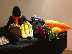 Yes -- that is a baby grand piano under there, so we are talking BIG fruit made for the Artisphere Yarn Bomb! Baby Grand Pianos, Yarn Bombing, Stitch, Fruit, Big, Projects, Log Projects, Full Stop, Blue Prints