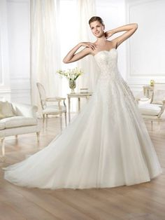 A-line Sweetheart Sweep Lace Crystal Draped Wedding Dresses, Wedding Gowns, Bridal Dresses, Bridal Gowns