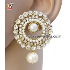 Looking for funky #jewelry accessories this #monsoon. Try this beautiful White Stone Fancy Tops #Earring. Order it now online from Lucky Jewellery  at Rs. 232/- This #wedding season look stunning with this stylish Earring. #jewellery #fashion #style #ethnic http://ift.tt/2acV4Rk