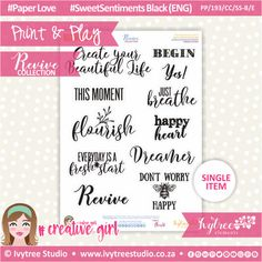 PP/193/CC/SS-B - Print&Play - CUTE CUTS - Sweet Sentiments Black (Eng/Afr) - Revive Collection