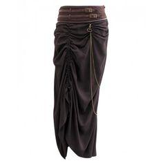 Long Dark Brown Steampunk Skirt