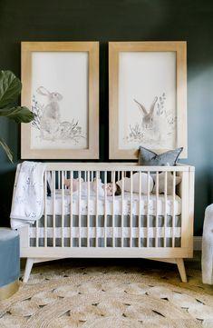 Green Nursery Girl, Baby Girl Nursery Themes, Bunny Nursery, Nursery Twins, Nursery Neutral, Baby Boy Nurseries, Nursery Wall Art, Nursery Decor, Baby Rooms