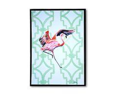 Gerahmtes Poster Flamingo Patroon, 31 x 41 cm