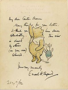 "Beautiful information about Milne & illustrator Shepard.  BOOKTRYST: Scarce Original E.H. Shepard ""Winnie-the-Pooh"" Drawing At Auction"