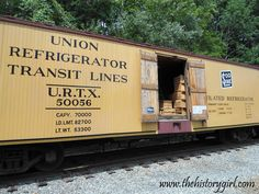 Union Refrigerator Transit Lines ventilated refrigerator car (built 1927) and now located at the Whippany Railway Museum, in Whippany, NJ. The museum is located in a restored 1904 Freight House of the Morristown and Erie Railroad. The railroad yard includes the Whippany passenger depot, coal yard, 1904 wooden water tower, and dozens of historic railcars, including one of the oldest steam locomotives in America, Southern Railway No. 385, built in 1907. Discover more @ www.thehistorygirl.com