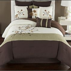 Update your bed with an elegant look with the Camisha Comforter Set. The top of bed is a mix of chocolate brown, ivory, and green accented with stylish embroidery details and is made from peach-finished polyester for extra softness.