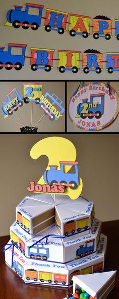 Exemplo de lembrancinhas em formato de bolo e Feliz aniversário em formato de trem!