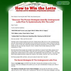 Discover The Proven Strategies Used By Underground Lotto Pros To Systematically Win The Lotto. See more! : http://get-now.natantoday.com/lp.php?target=lottohow