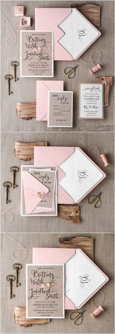 Rustic pink wedding invitations #rusticwedding #countrywedding #weddingideas