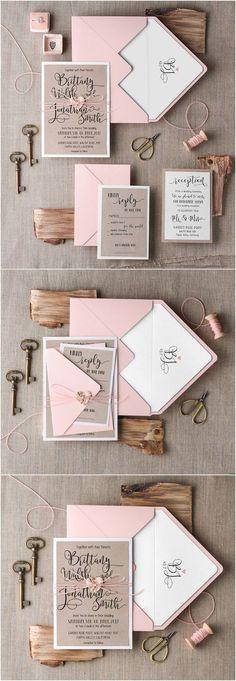 Rustic pink wedding invitations #rusticwedding #countrywedding #weddingideas